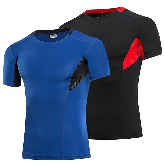 Fitibest Hombres Camisa de compresión de Mangas Cortas Camisa de atlética e4eb0c01ee5bf