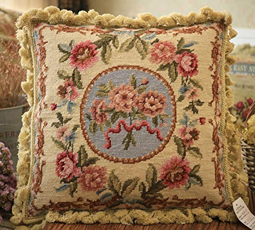 """FineHomeCrafts 16"""" Vintage Antique Fine Home Decor Hand Woven Victorian Floral Roses Needlepoint Pillow Cover"""
