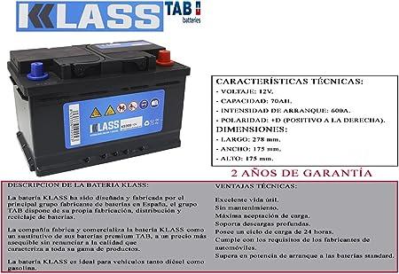 BATERIA DE COCHE KLASS 12V 70AH 600A + DERECHA ENTREGA GRATIS EN 24/48 HORAS 2 AÑOS GARANTIA REALES 680A (EN)+D FABRICADA EN ESPAÑA POR TAB 278x175x175 CALIDAD PROFESIONAL TURISMOS DIESEL Y GASOLINA: