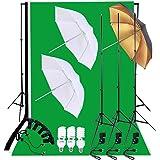 Andoer® Kit Set Conjunto Juego Fotográfico Estudio 45W Bombillas Luz + Fondos Blanco Verde Negro Muselina telón de Fondo + Soportes de Luz + Soporte de Fondo + E27 Luz Socket + Paraguas Oro/Negro