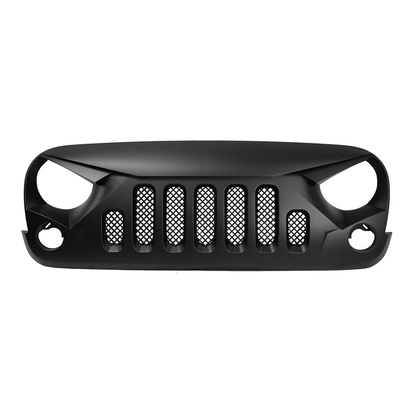 Angry Bird Style Front Grille for 2007-17 Jeep Wrangler JK - Matte Black Grill Grilles with Mesh Paragon Parts