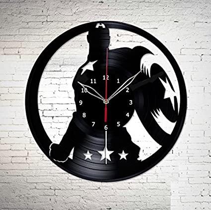Captain America The Winter Soldier Vinyl Record Wall Clock Fan Art Handmade Decor Unique Decorative Vinyl
