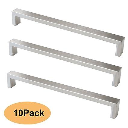 Probrico 10 pcs cepillado níquel Bar armario de cocina tirador de puerta asas baño y dormitorio puerta tiradores acero inoxidable 8 tamaño (96 mm, 128 ...