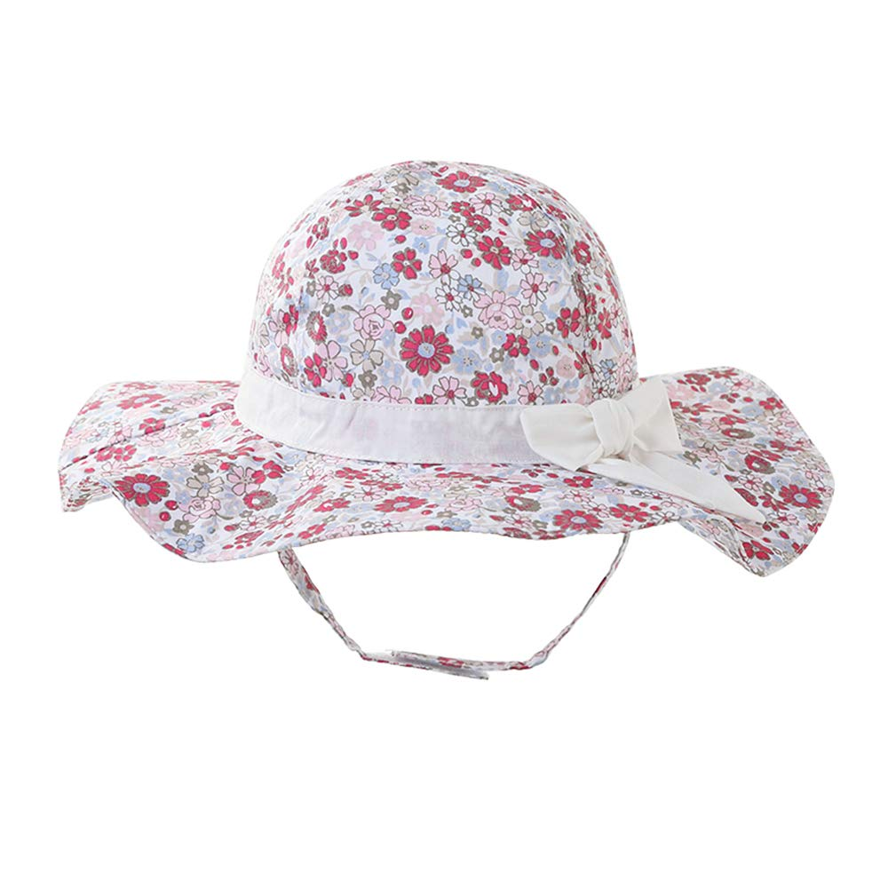 DANMY Baby Girl Sun Hat with UPF 50 Outdoor Adjustable Beach Hat with Sun Protection Wide Brim Bucket Hat