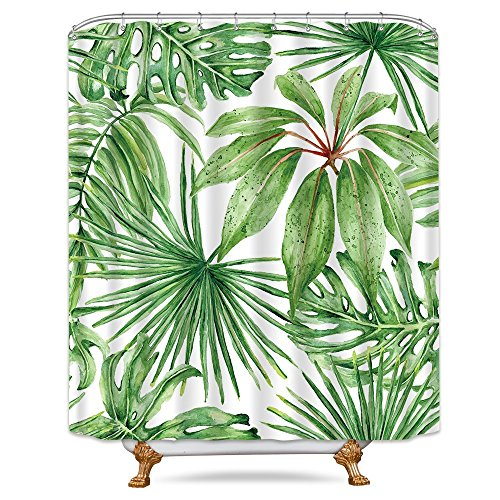 (Riyidecor Green Leaf Shower Curtain Metal Hooks 12 Pack Tropical Palm Tree Leaves White Decor Fabric Bathroom Set Polyester Waterproof 72x72 Inch)