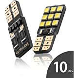 Marsauto CanBus-Ready 168 194 LED Bulb T10 Polarity Free Super Bright 9SMD for Car Interior Dome Map Door Courtesy License Plate Lights Xenon White 10-Pack