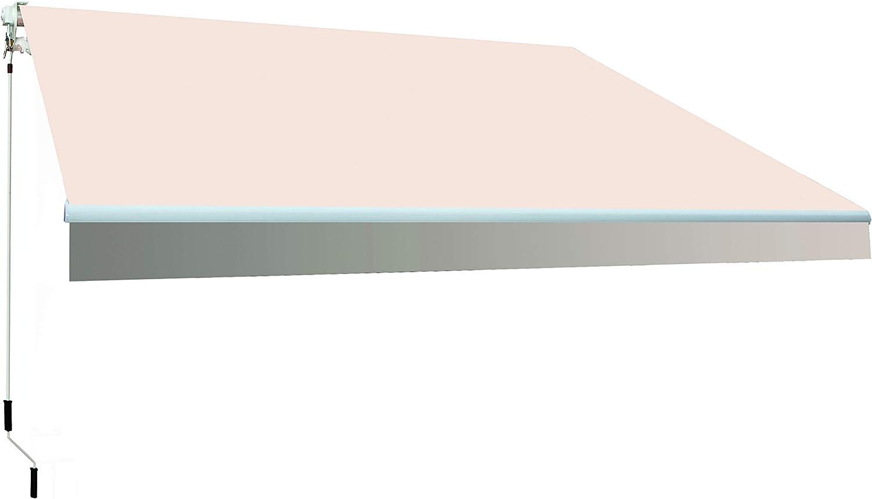 SmartSun Classic Toldo Completo 3x2m Color Crudo Lona poliéster. Toldo terraza, jardín, Balcon