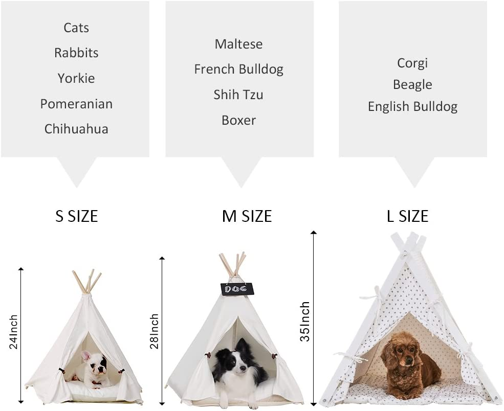 /& Cat Beige Color 24 Inch /& Cat Bed Puppy little dove Pet Teepee Dog Portable Pet Tents /& Houses for Dog Puppy with or Without Optional Cushion