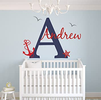 Amazon.com : Custom Nautical Name Wall Decal - Baby Room Decor ...