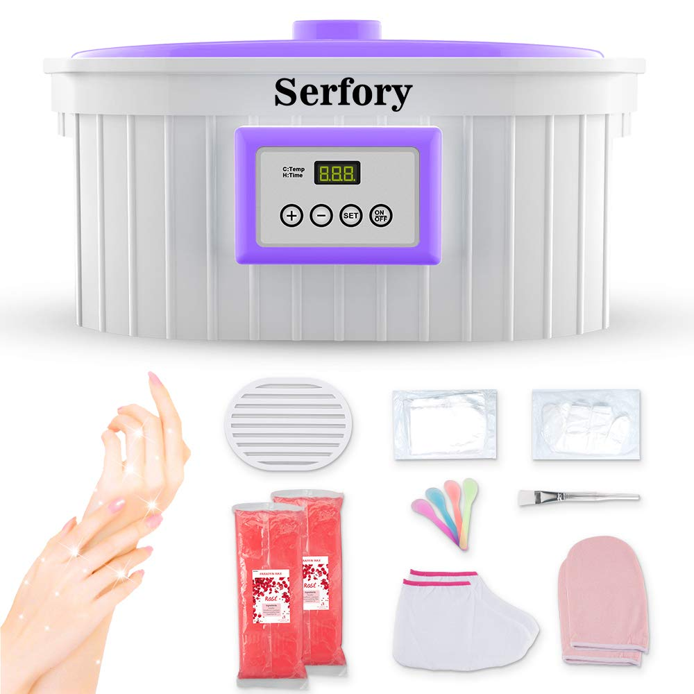 Paraffin Wax Machine for Hand and Feet, Serfory 5000ml Paraffin Wax Warmer Quick-Heating Paraffin Bath with Refill Thermal Mitts Gloves Silicone Brush for Smooth and Soft Skin(2019 Model) by Serfory