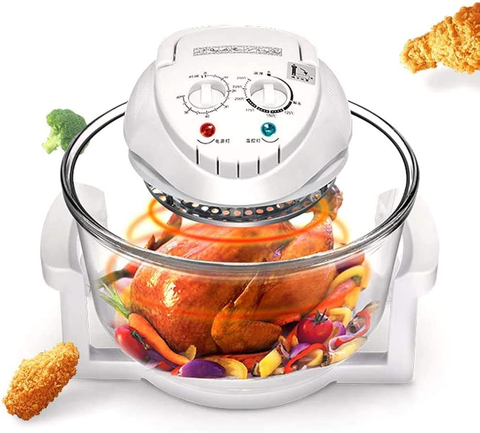 Air Fryer Infrared Convection Oven Halogen Oven Countertop 12L Cooker Glass Bowl Healthy Low Fat Cooking Great for French Fries & Chips, White (12L)