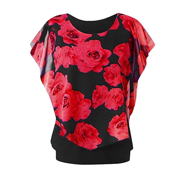 23844effd9445a Cealu Women's Summer Layered Tops Plus Size Round Neck Bell Sleeve Ruffles  Floral Print Chiffon T-Shirt Pullover Blouse: Amazon.ca: Clothing &  Accessories