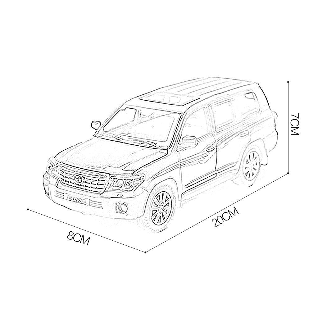YSDHE Modelo de Coche Coche 1:24 Toyo-ta Land Cruiser SUV Simulaci/ón Aleaci/ón Fundici/ón a presi/ón Adornos de Juguete Colecci/ón de Coches Deportivos Joyer/ía 20x8x7CM Color : White