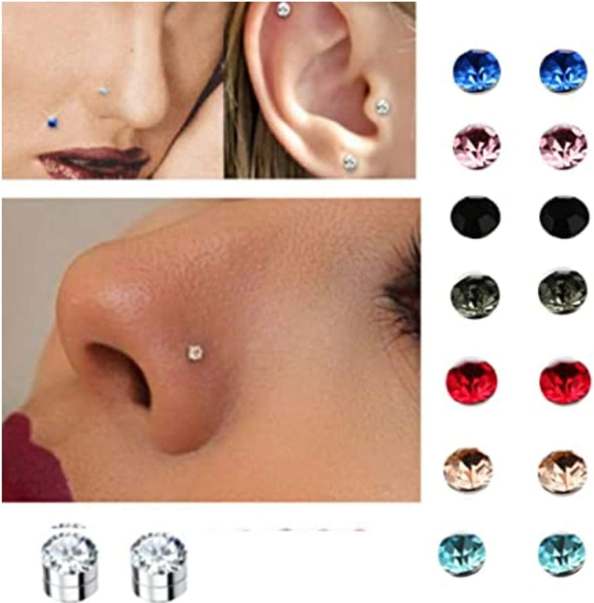 Amazon Com Emivery 5mm Crystal Magnetic Stud Earring Magnet Nose