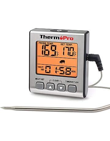 ThermoPro Termometro Horno, Termómetro Digital de Cocina con Temporizador, Alarma, Pantalla LCD Grande
