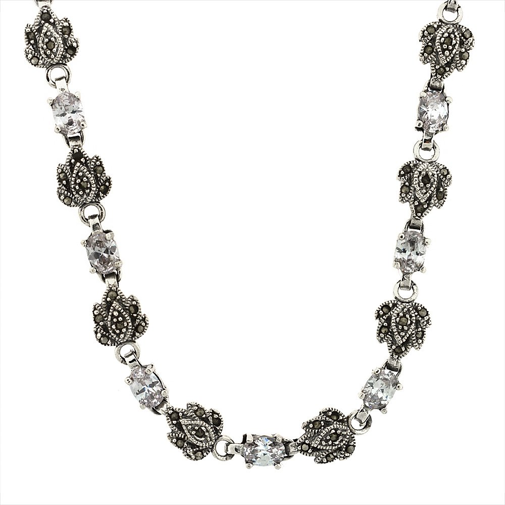Sterling Silver Cubic Zirconia Clear Marcasite Necklace, 16 inch long