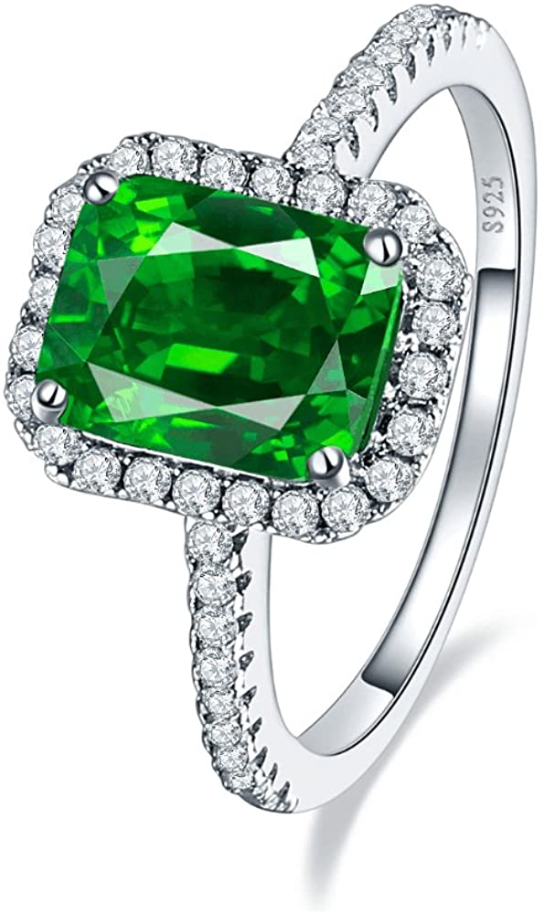 BONLAVIE 3.6ct 8x6mm Green Simulated Emerald Sliver Rings for Women 925 Serling Silver Cubic Zirconia Engagement Promise Ring Size 5-10
