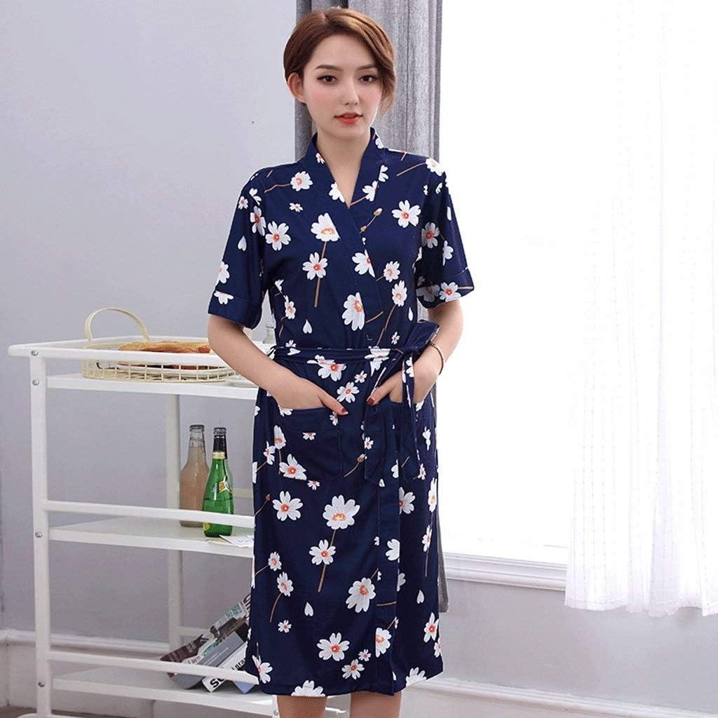 DWLXSH Bata de Kimono Impresa para Mujer, Albornoz de Verano, para Mujer, algodón de Manga Corta, Pijama de Mediana Edad para mamá, de Gran tamaño: Amazon.es: Hogar