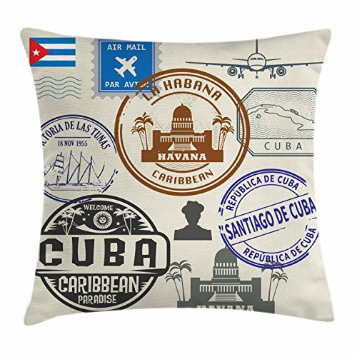 Lunarable Havana Throw Pillow Cushion Cover, Travel Concept Passport Stamp Design of Cuban Cities and Landmarks, Decorative Square Accent Pillow Case, 18