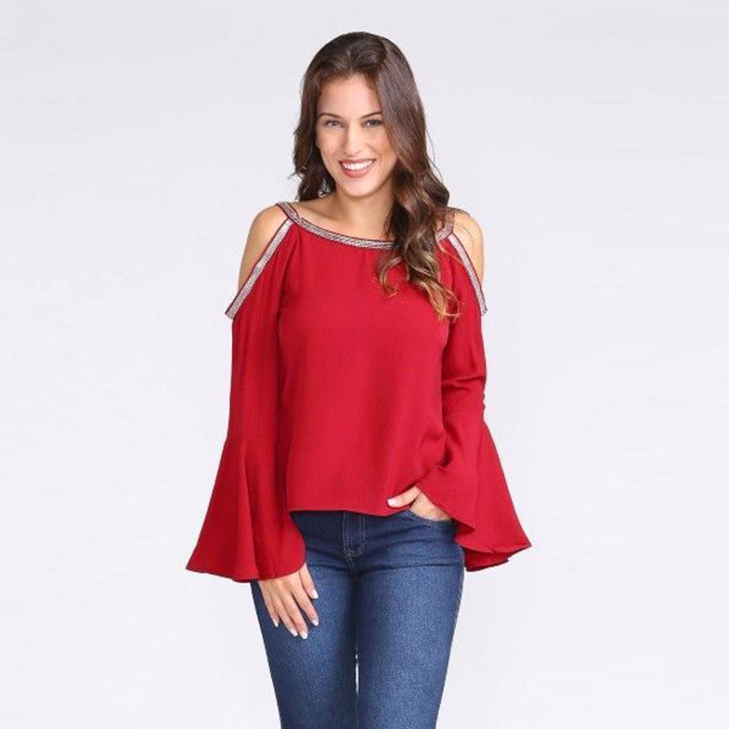 Longra 2018 Las Mujeres de Moda Casual Solid Blusa Glitter Cold Shoulder Flare Sleeve T-Shirt Top Blusas de Mujer: Amazon.es: Deportes y aire libre