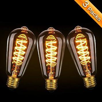 Vintage Edison Bombilla, Elfeland 3x E27 LED Retro Lámpara Suave Espiral Filamento Bombilla Decorativa 3W