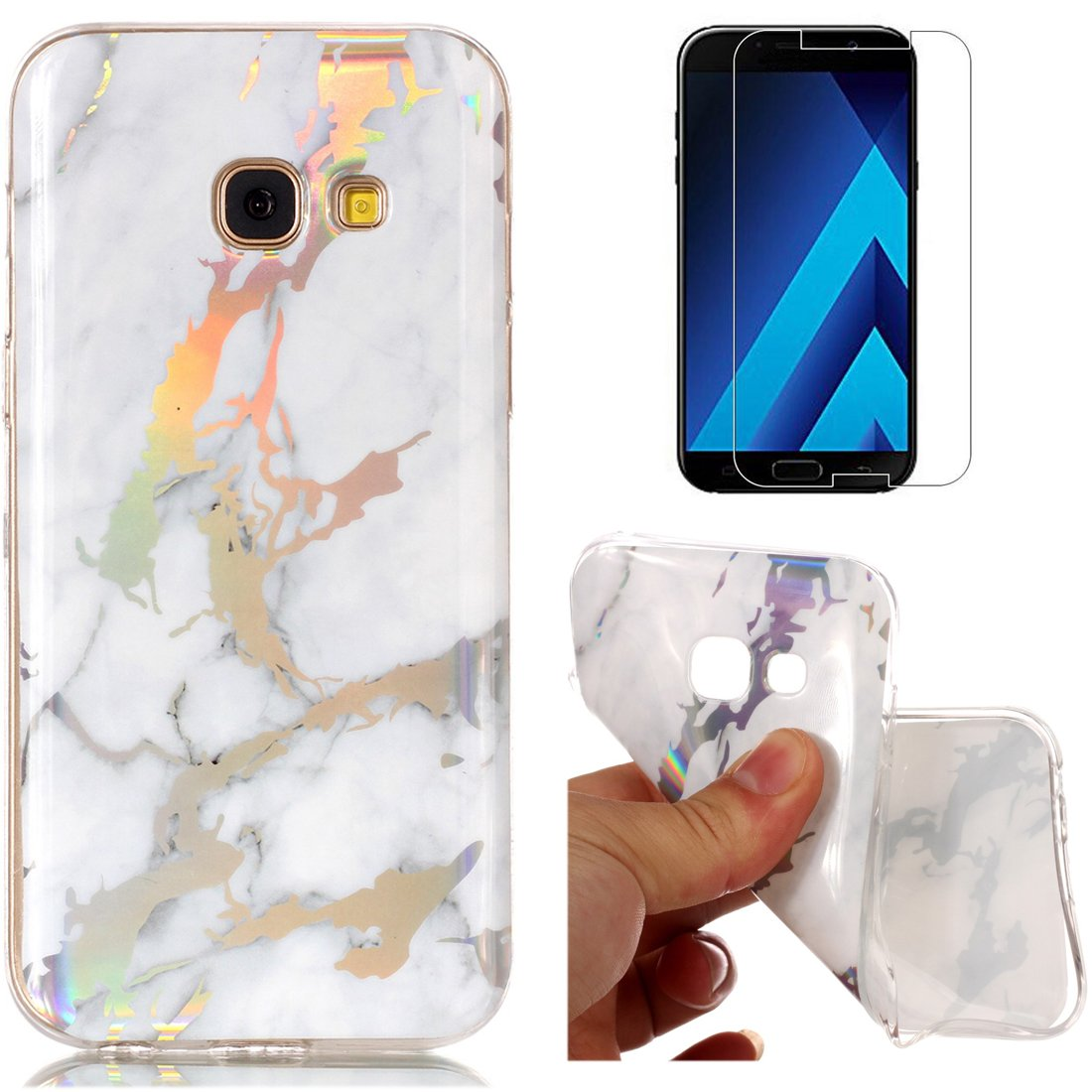 for Samsung Galaxy A5 2017 A520 Marble Case with Screen Protector,OYIME Creative Glossy Green Marble Pattern Design Protective Bumper Soft Silicone Slim Thin Rubber Luxury Shockproof Cover