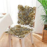 Mikihome Seat Cushion The Gears in The Style of Steampunk Mechanical Design Engineering Theme G and Brown 2 Piece Set Home Fashions seat Cushion Set Mat:W17 x H17/Backrest:W17 x H36