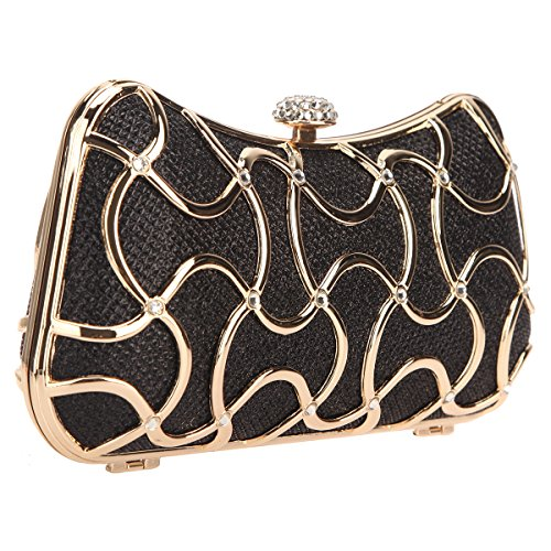 Black Bags Clutch Bonjanvye Metal Handle With For Women Evening t8H4qw