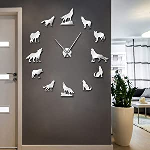 The Geeky Days Howling Wolf DIY Large Wall Clock Different Wolf Pose Frameless Wall Watch Clock Home Decor Modern Design Wolf Admirers Gift (Silver)