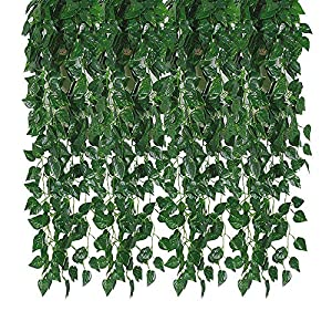 Kalolary 78 Ft 12 Strands Artificial Ivy Garland Leaf Vines Plants Greenery, Hanging Fake Plants, for Wedding Backdrop Arch Wall Jungle Party Table Office Decor 5