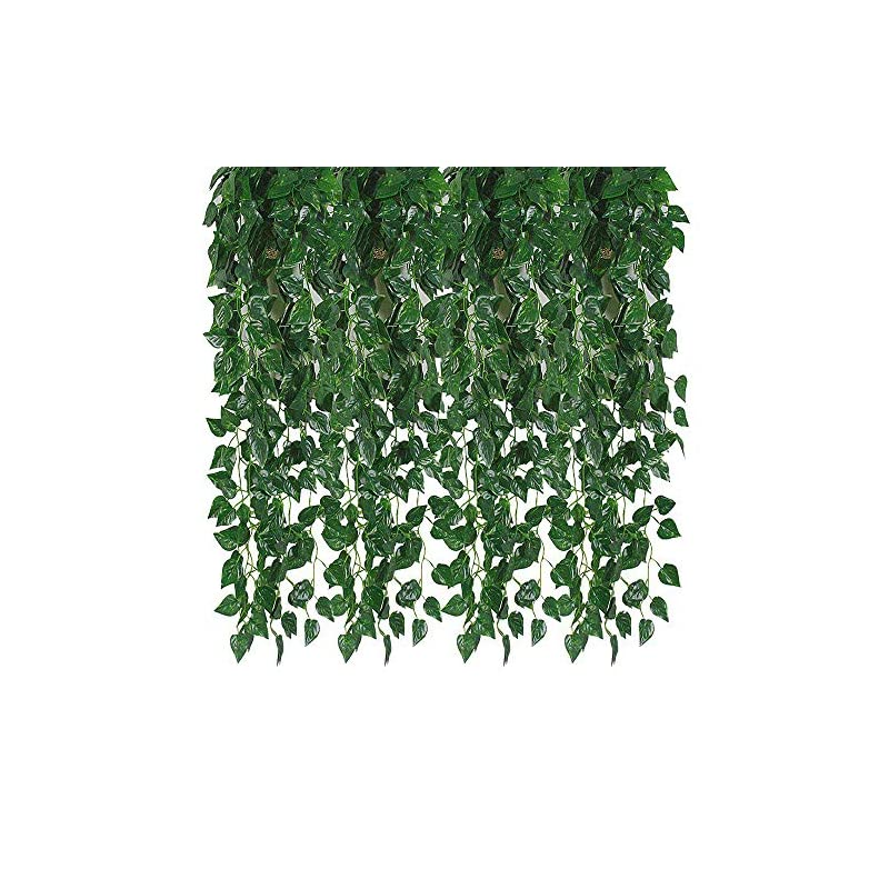 silk flower arrangements kalolary 78 ft 12 strands artificial ivy garland leaf vines plants greenery hanging garland fake plants for wedding backdrop arch wall jungle party table office decor (scindapsus)