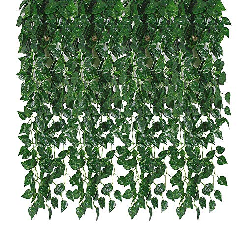 Jungle Room Decor (Kalolary 78 Ft 12 Strands Artificial Ivy Garland Leaf Vines Plants Greenery, Hanging Fake Plants, for Wedding Backdrop Arch Wall Jungle Party Table Office Decor)