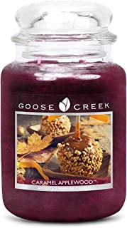 product image for Goose Creek Caramel Applewood with Glass Lid Essential Series Jar Candle, 22 oz