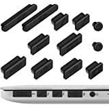 Anti-dust Plug Macbook , ivencase 12pcs Anti-dust Silicone Plug Rubber Port Cover Protection Set For Apple MacBook Pro Retina / MacBook Air (Black)