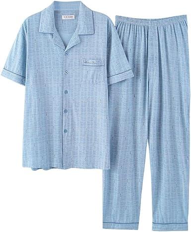 Conjunto De Pijama De Los Hombres, Ropa De Dormir De Algodón Manga Corta Botón Abajo Loungewear con Pantalones Largos: Amazon.es: Ropa y accesorios