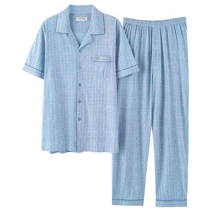SQINAA Conjunto de pijama de los hombres,Ropa de dormir de algodón manga corta botón