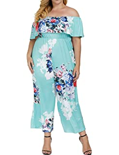 3830ce003d26 Allegrace Women s Plus Size Floral Print Off Shoulder Jumpsuit Strapless  Ruffle Long Rompers