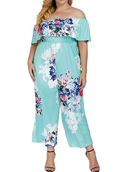 d21d105efe4e Allegrace Women s Plus Size Floral Print Off Shoulder Jumpsuit Strapless  Ruffle Long Rompers Lake Blue 1X