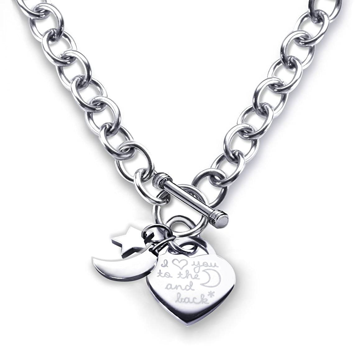 1ec4eb2378b Heart Toggle Necklace I Love You to the Moon and Back Charm Stainless Steel  18