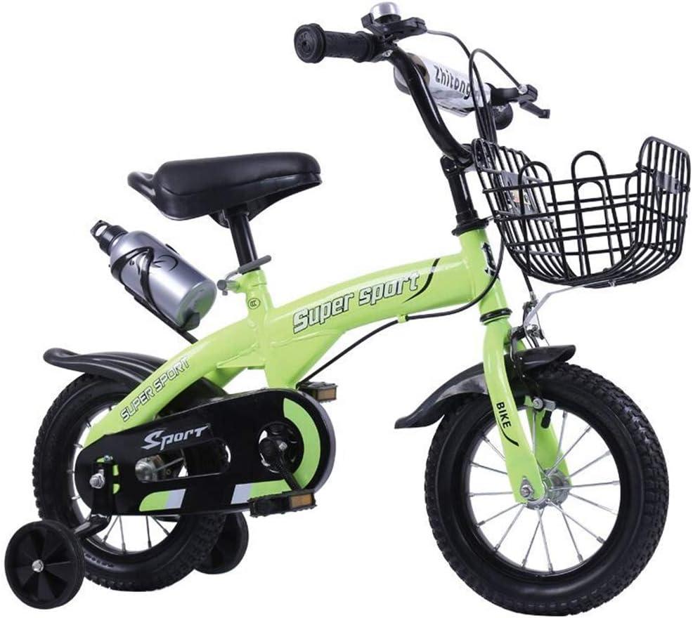 ZCPDP Vélos pour Enfants 12 Pouces / 14 Pouces / 16 Pouces / 18 Pouces Vélos à Deux Roues pour garçons et Filles de 2 à 9 Ans green