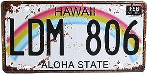 Retro Vintage U.S. State Auto Number Tags, Embossed Metal License Plates, 12