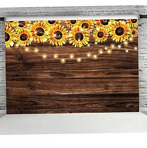 (Werrox MMY 7x5ft Sunflower Wooden Floor Texture Backdrop Shower Banner Decor Supplies Sunflower Theme Photography Background Photo Booth Props | Model WDDNG -4327)