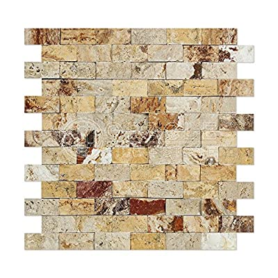 Valencia Travertine 1 X 2 Brick Mosaic Tile, Split-Faced