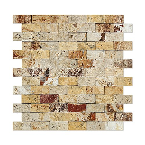 Valencia Travertine 1 X 2 Brick Mosaic Tile, Split-Faced (LOT of 50 SHEETS) by Oracle Tile & Stone