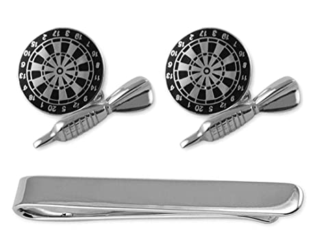 8cfec138e64b Image Unavailable. Image not available for. Color: Sterling silver black  enamel dart & dartboard Cufflinks ...