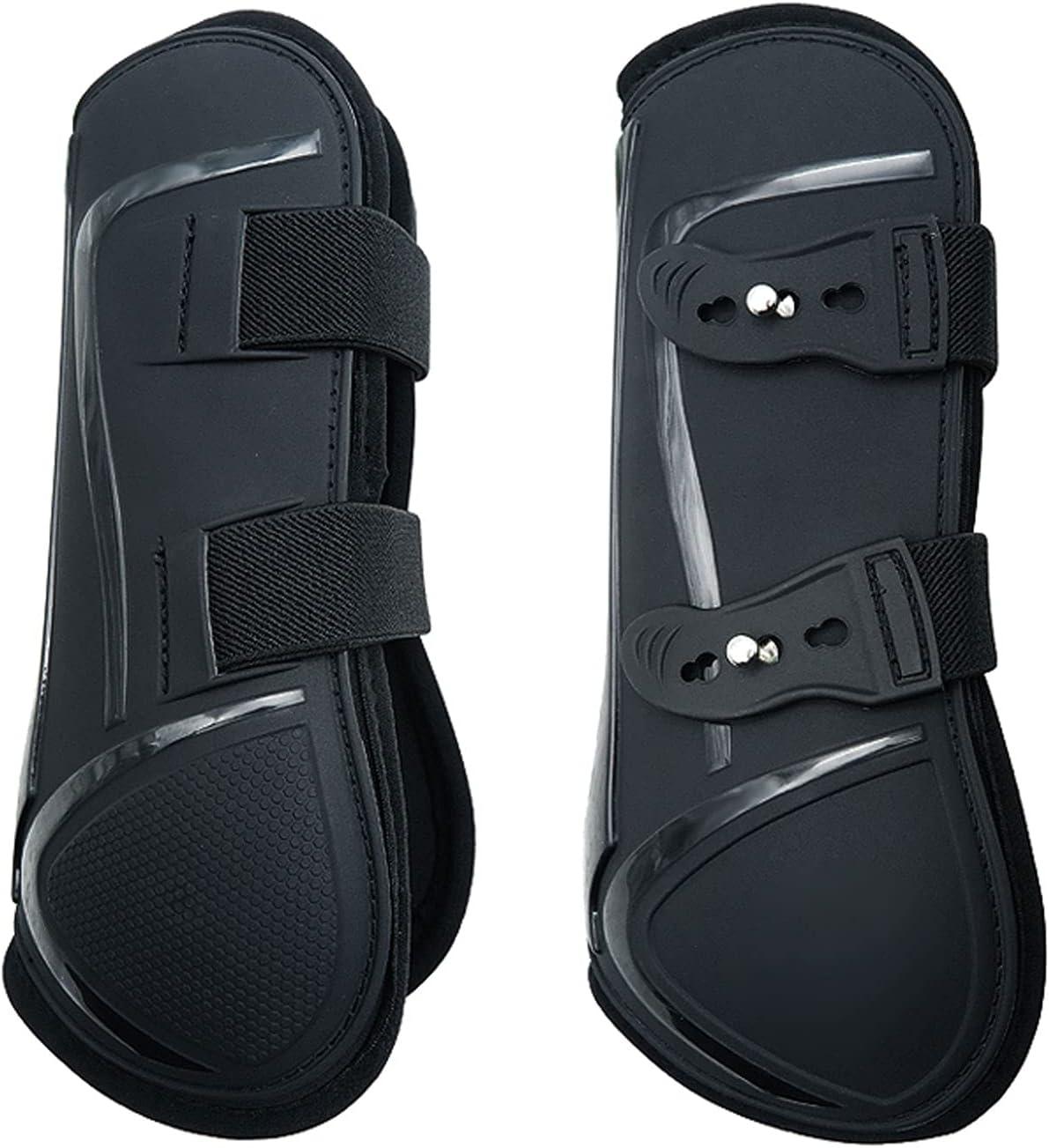 Botas del caballo de la PU, Wearable la bota ajustable de la pierna del caballo con el choque interno suave absorben mantienen las botas calientes del caballo para Junmping (Pata delantera M)