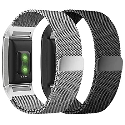hooroor For Fitbit Charge 2 Bands for Women Men, Milanese Loop Stainless Steel Metal Bracelet Strap with Unique Magnet Lock Replacement Wristbands for Fitbit Charge 2 (Large, 2 Pack Silver + Black)