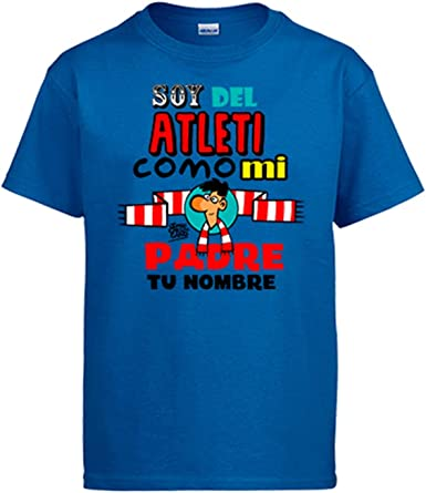 Diver Bebé Camiseta Soy del Atleti Atlético de Madrid como mi Padre Personalizable con Nombre: Amazon.es: Ropa y accesorios