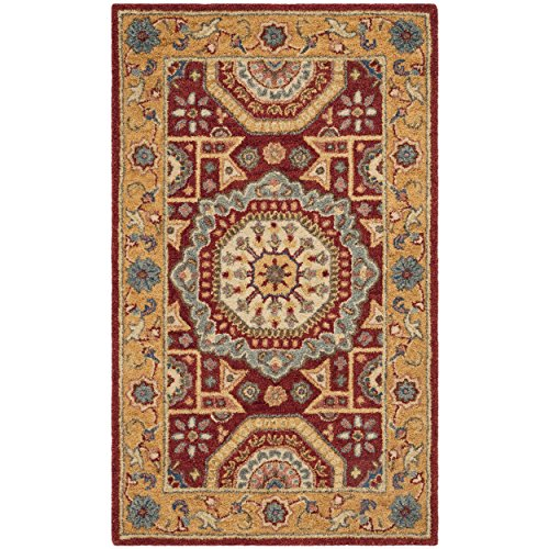 Safavieh AT501Q-3 Antiquity Collection Red and Orange Premium Wool Area Rug, 3' x 5',