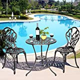 Casart 3 Pcs Bistro Set Cast Tulip Design Antique Outdoor Patio Furniture Weather Resistant Garden Round Table and Chairs Set w/Umbrella Hole (Tulip Design)